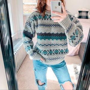 L.L. BEAN | Vintage Nordic 100% Wool Sweater Sz L